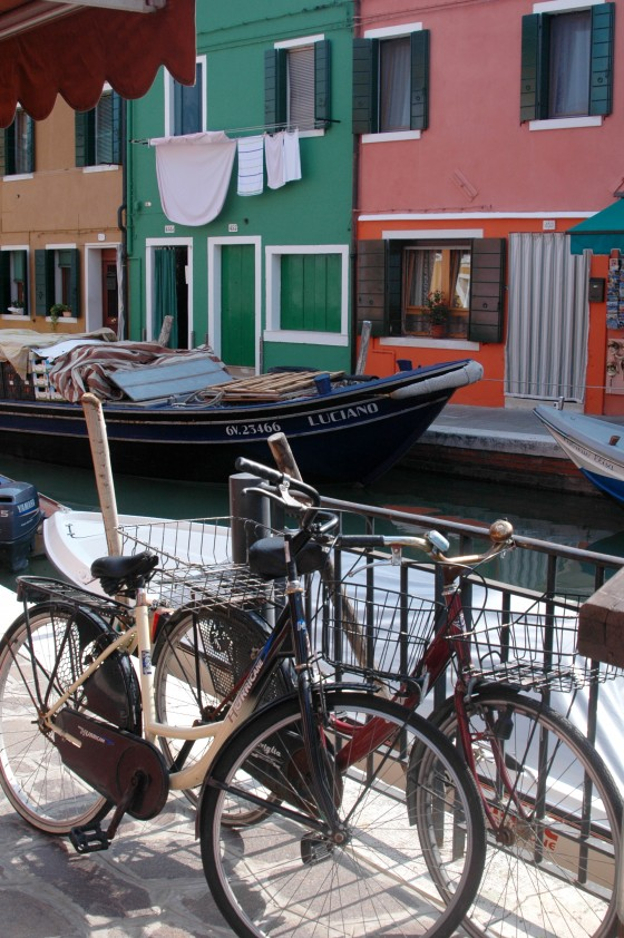 bikes by the canal on Burano