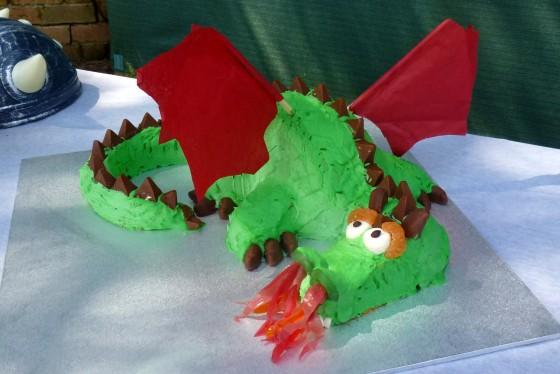 Fire breathing dragon birthday cake