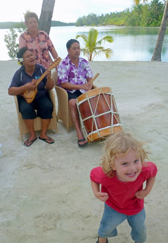 Child dancing at Aitutaki Lagoon Resort