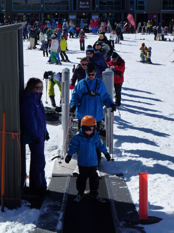 Magic carpet with kids at Friday Flats. Thredbo