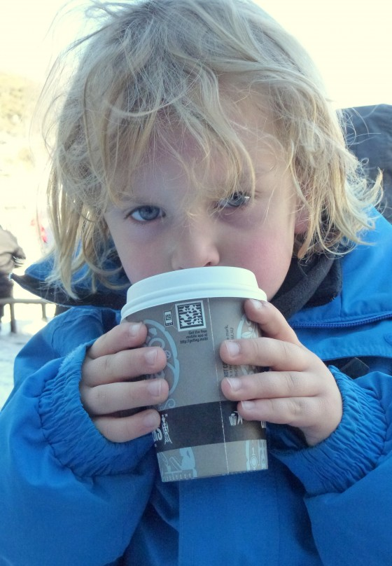 Hot chocolate in the snow