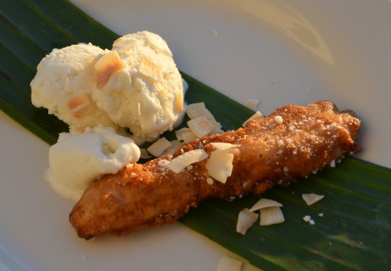 banana fritters and coconut sorbet