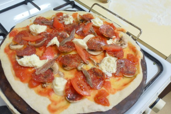 homemade pizza diavola