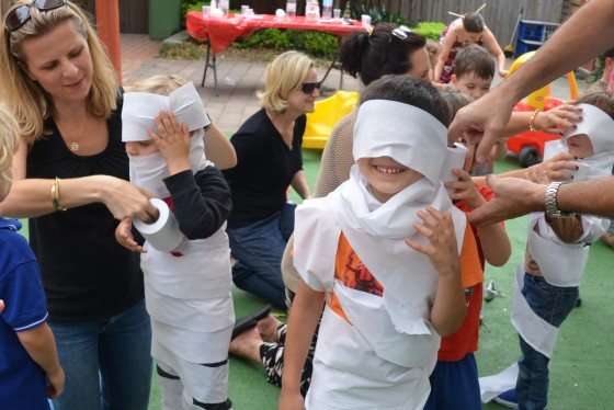 kids game toilet paper mummy