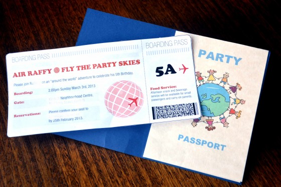 party passport & boarding pass invite
