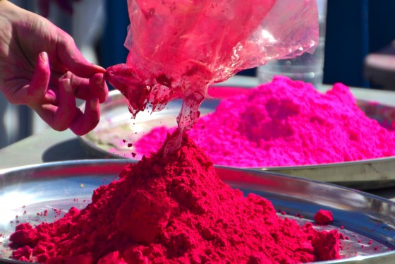 preparing the colours for holi