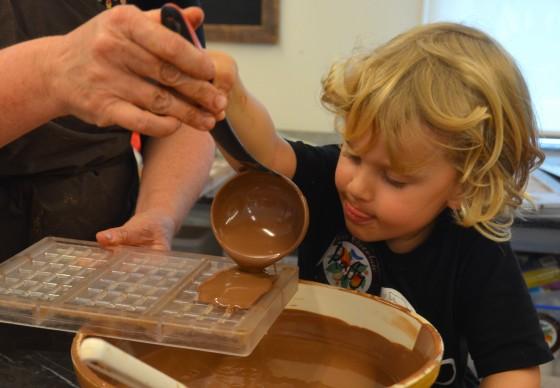 making a chocolate bar at Sydney Chocolate School