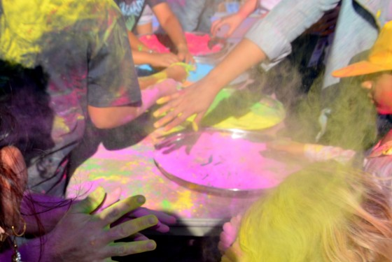colours fly at Holi