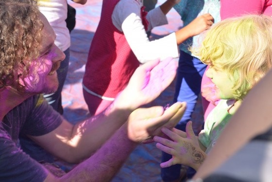 Daddy going in for the colour kill at Holi