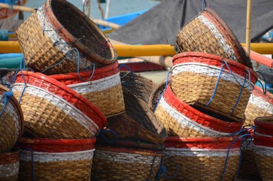 FIshing baskets on the beach, JImbaran