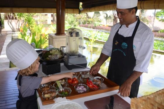 Jimbaran Bay with Kids Raffles learns to cook nasi goreng at Ayana