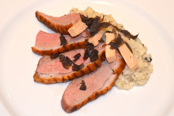 Duck breast with black truffle risotto and duck liver pate