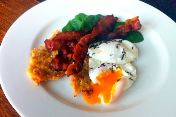 Streaky bacon and truffle infused poached eggs