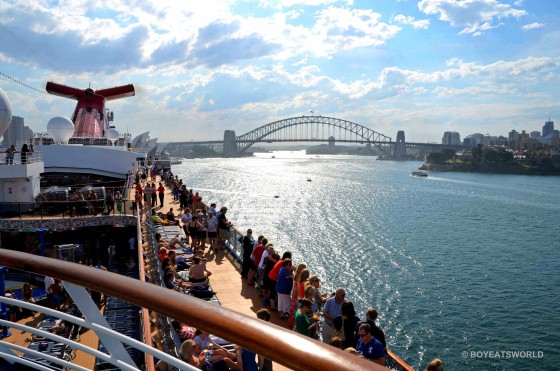 sailing out of Sydney Harbour on Carnival Spirit