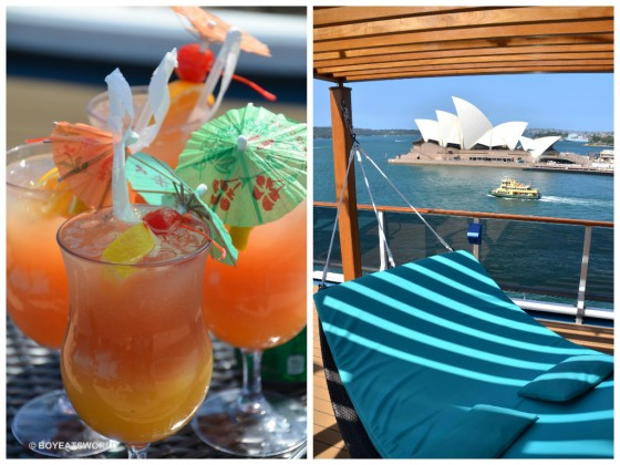 Cocktails and sun lounges on Carnival Spirit