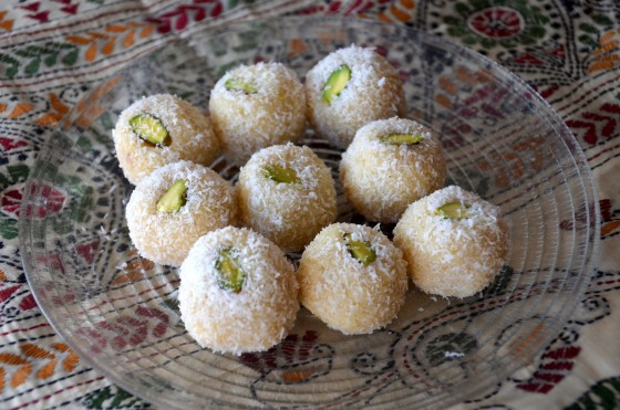 Coconut and pistachio Laddoo