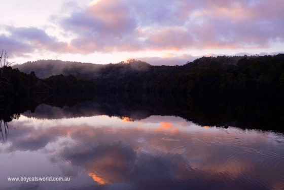 sunrise on the Pieman River, Corinna