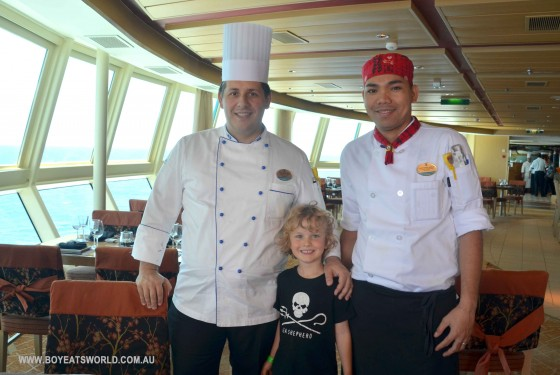 Executive Chef and Izumi chef with Raffles on Radiance of the Seas