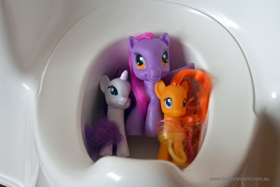 My Little Pony's making themselves comfortable in a potty