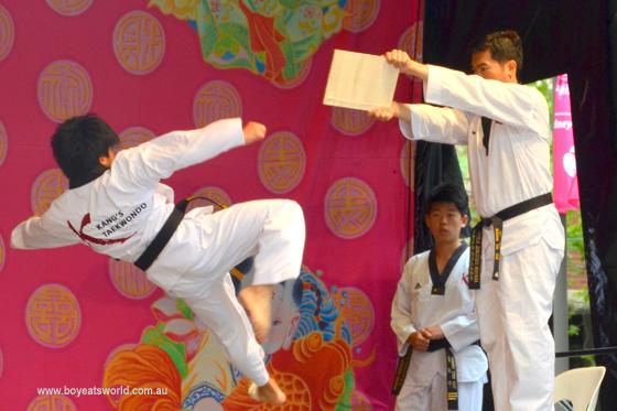 martial arts demo in Chinatown