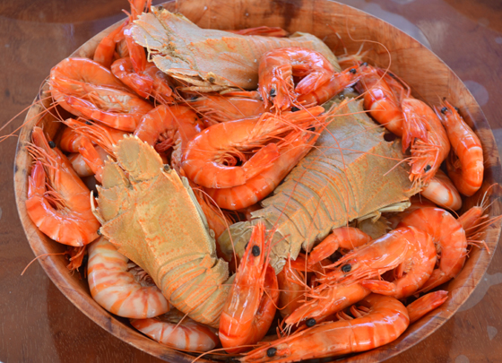 Lunch of Giant King Prawns and Bugs