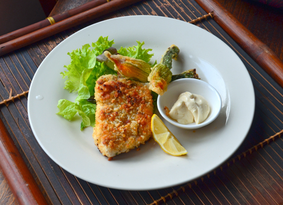 macadamia and lemon myrtle crusted barramundi