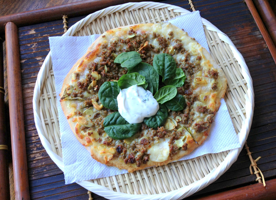 Middle Eastern Lamb Pizza with Mint Yoghurt & Spinach adapted from Flavours of Melbourne
