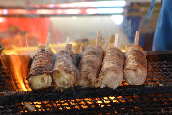glutinous rice and pork on a stick at Sensoji, Tokyo