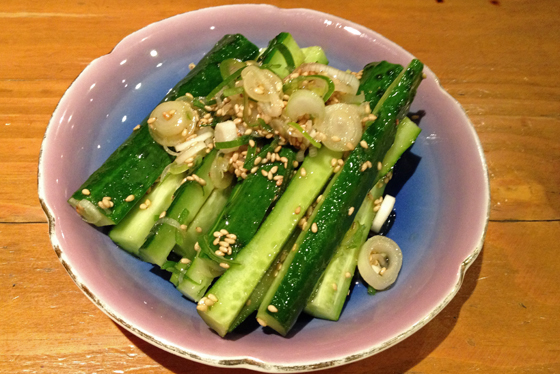 Cucumber in sesame. So darned good!