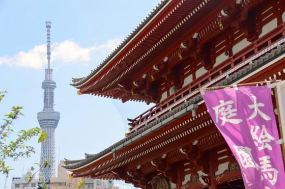 Sensō-ji with Tokyo Skytree in the background