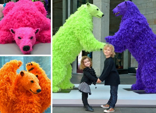 Psychedelic feathered bears at NGV
