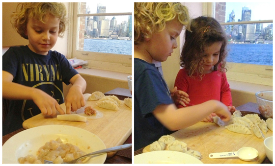 kids making Gyoza