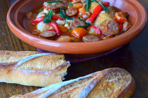 Basque style chicken and chorizo recipe