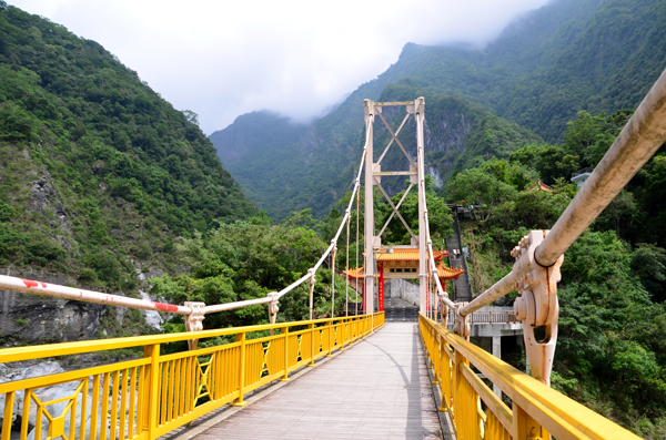 Colourful bridge over the Liwu River in Toroko Gorge