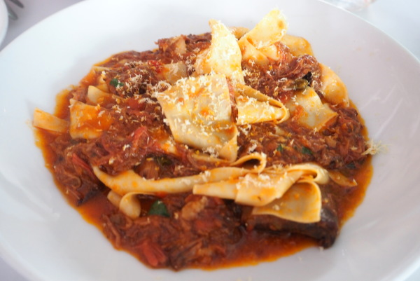 pappardelle with wagyu beef cheek ragu at A Tavola