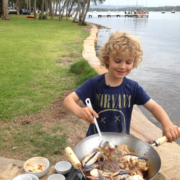 Cooking chilli crab at Summerland point