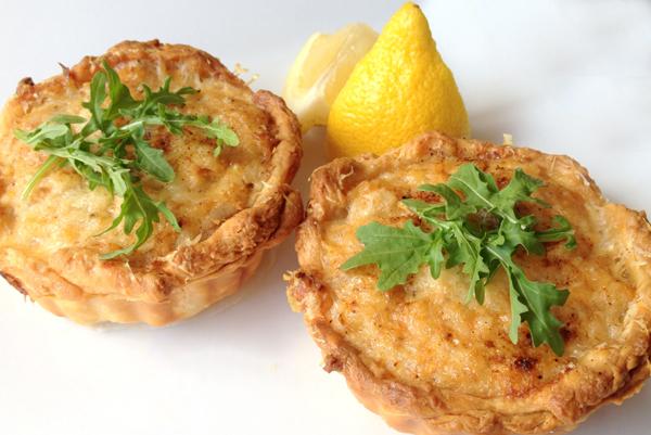 crab and gruyere tarts