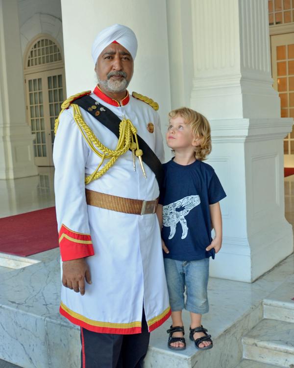 Raffles meets the doorman at Raffles SIngapore