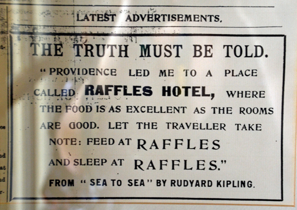 rudyard Kipling quote at Raffles