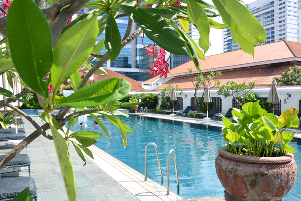 Rooftop pool at Raffles Singapore