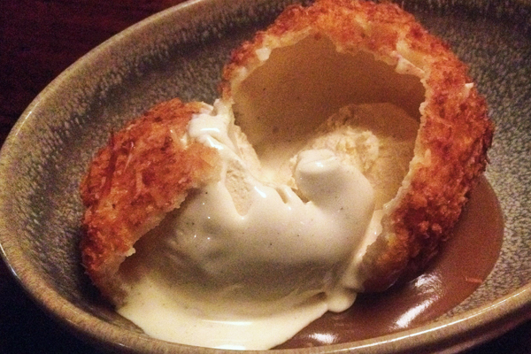 Fried ice cream with butterscotch sauce at Mr Wong Sydney