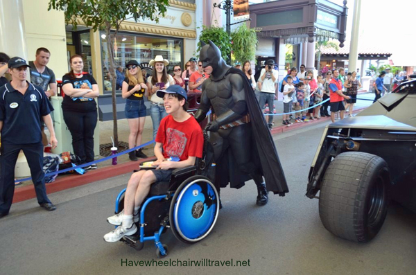 AJ from have Wheelchair Will Travel with Batman at Movie World, QLD