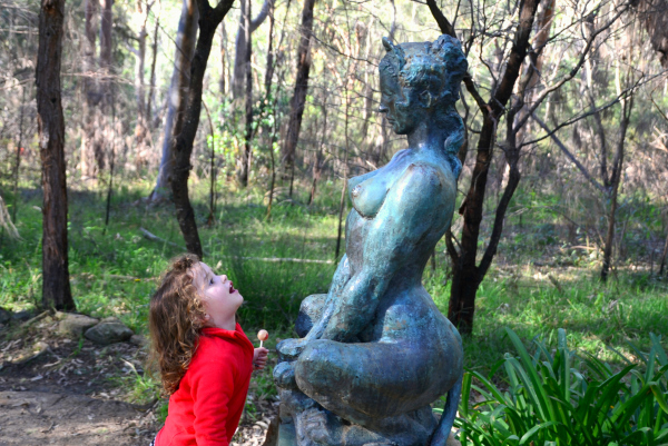 Admiring the artwork at The Norman Lindsay Gallery, Blue Mountains