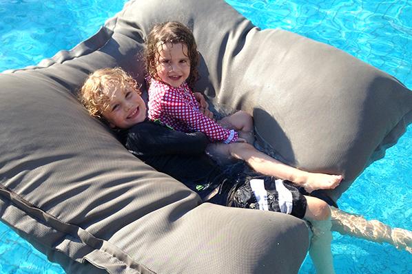 kicking back in the pool at the Holiday Inn Baruna Bali