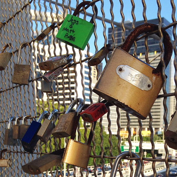 Love locks on Kurilpa Bridge Brisbane #Escapers15