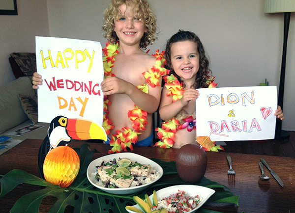 The kids got into our Costa Rican Fiesta to wish our friends  happy wedding day