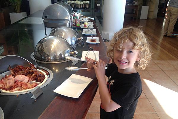 Raffles hits the breakfast buffet at Crowne Plaza Terrigal
