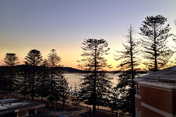 The view over Terrigal Beach from our room at Crowne Plaza Terrigal