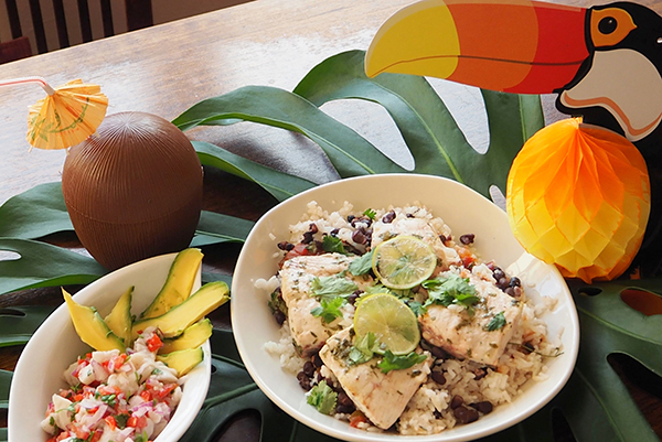 COsta rican style ceviche with citrus bake fish and black beans