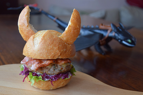 Viking Burger with swedsh meatball patty and pickled red cabbage